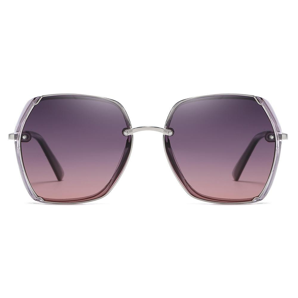 big square frame shape with purple gradient lenses and silve nose bridge
