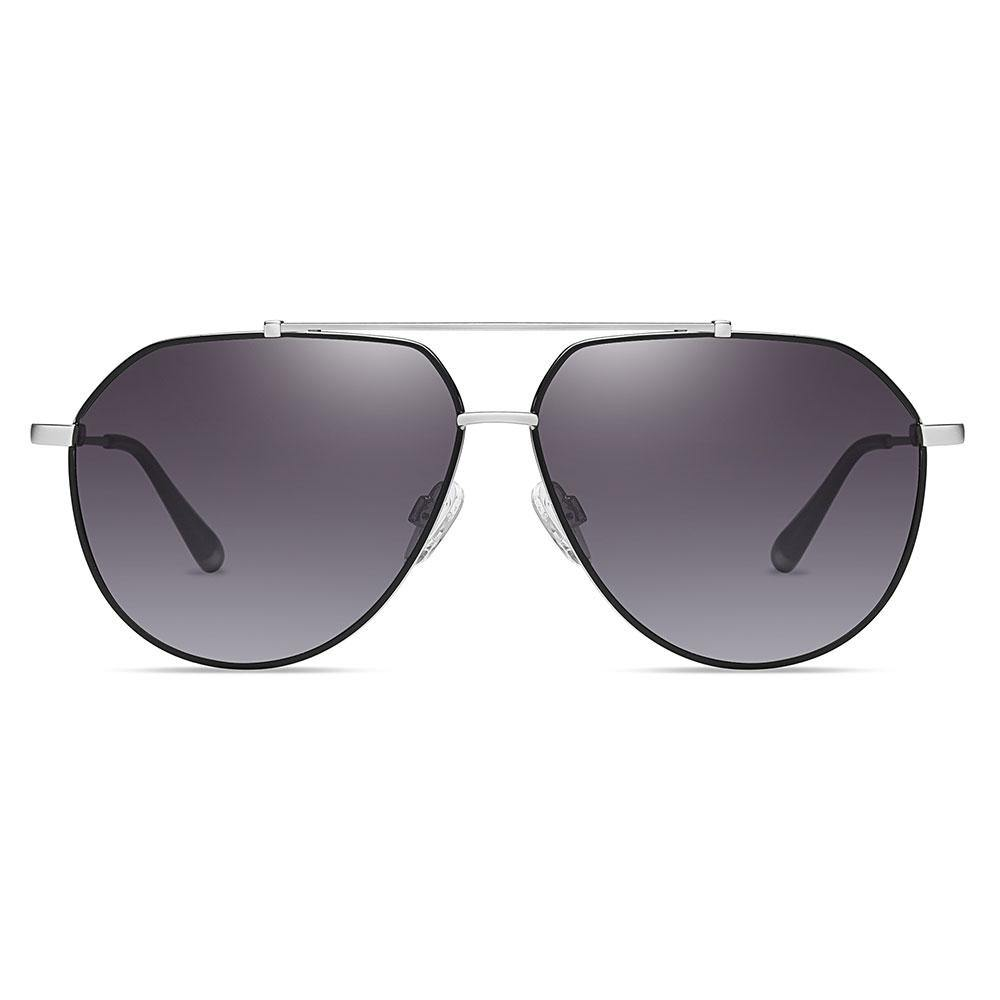 Aviator sunglasses for men women, Purple gradient lens tint with silver double bridge