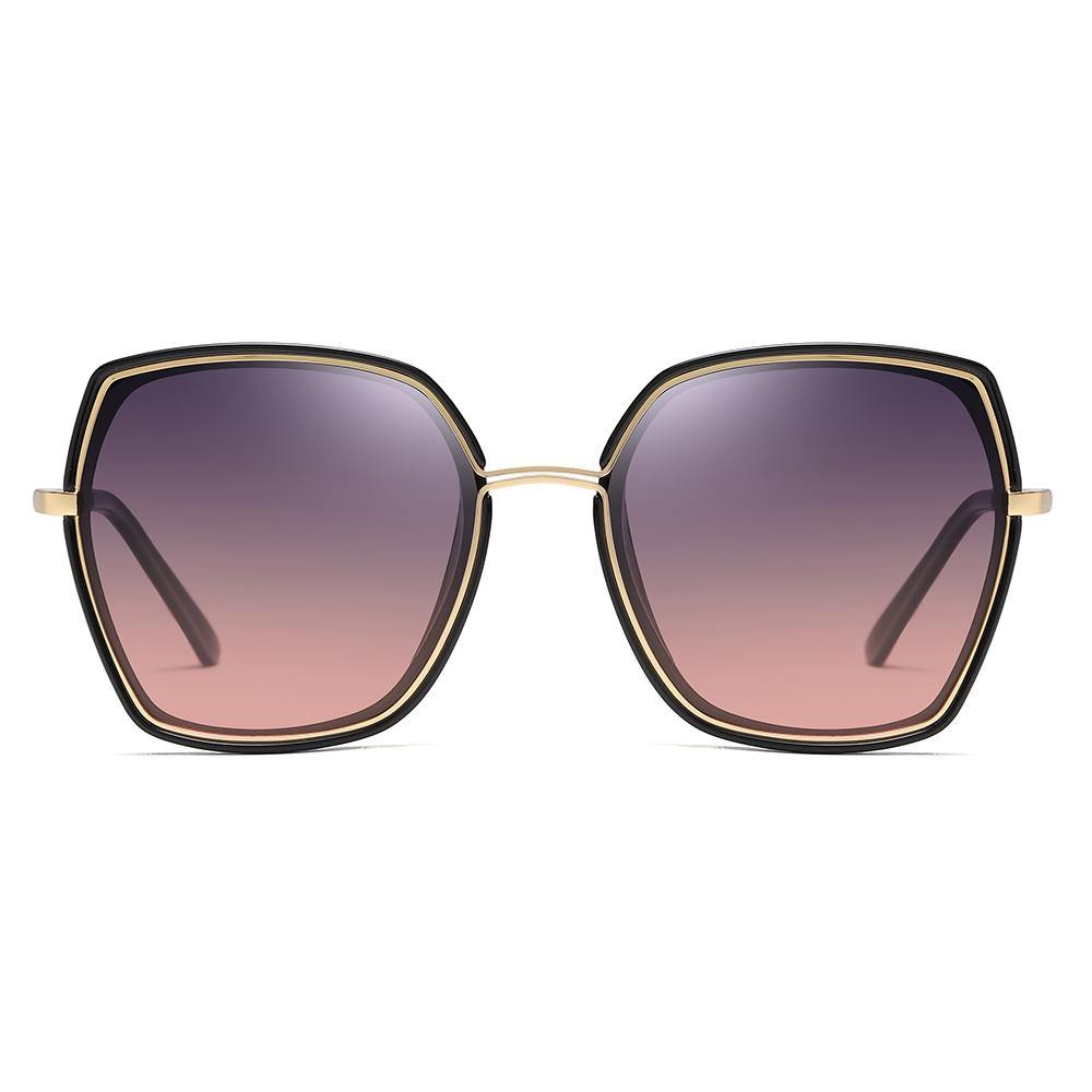 purple gradient shades with gold trim inserted in black frame
