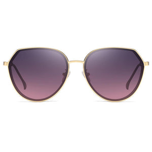 Sunglasses in Round Bottom Shape with Purple Gradient Lenses and Gold Trimmed