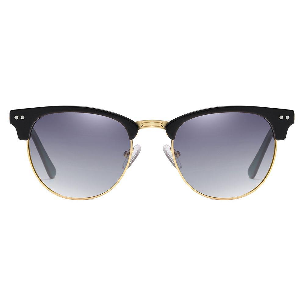 Purple gradient sunglasses with gold trimmed, black browline part, gold nose bridge