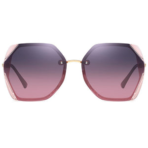 purple gradient shades lens, pink trimmed angle edge, gold nose bridge