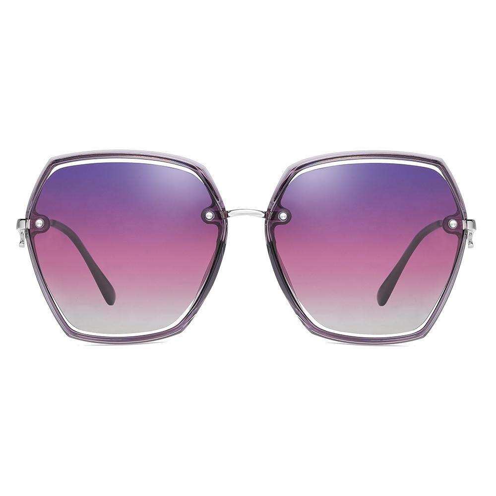 purple gradient sunglasses in geometric hexagon shape