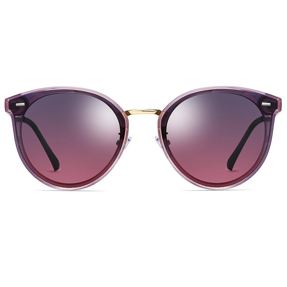 purple gradient lens sunglasses, phanto round frame shape, gold nose bridge
