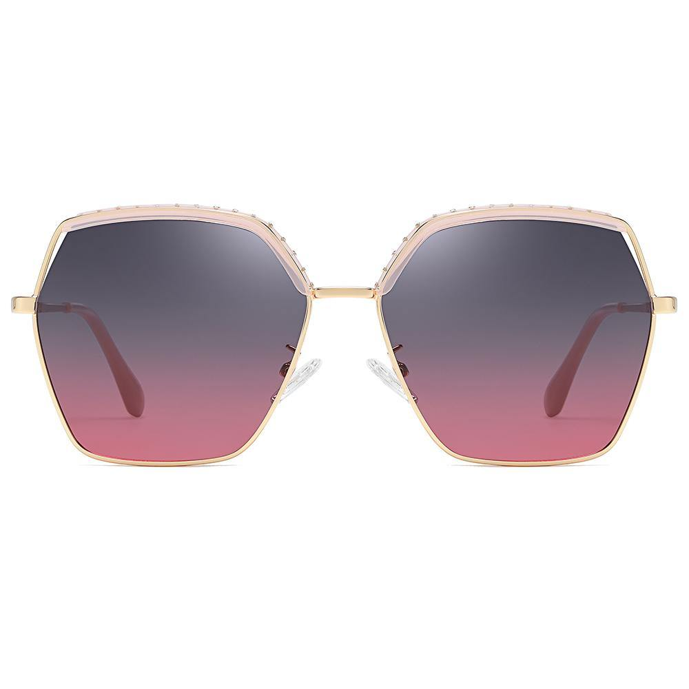 blue purple gradient lens tint, top pink and bottom gold trimmed, geometric hexagon shape