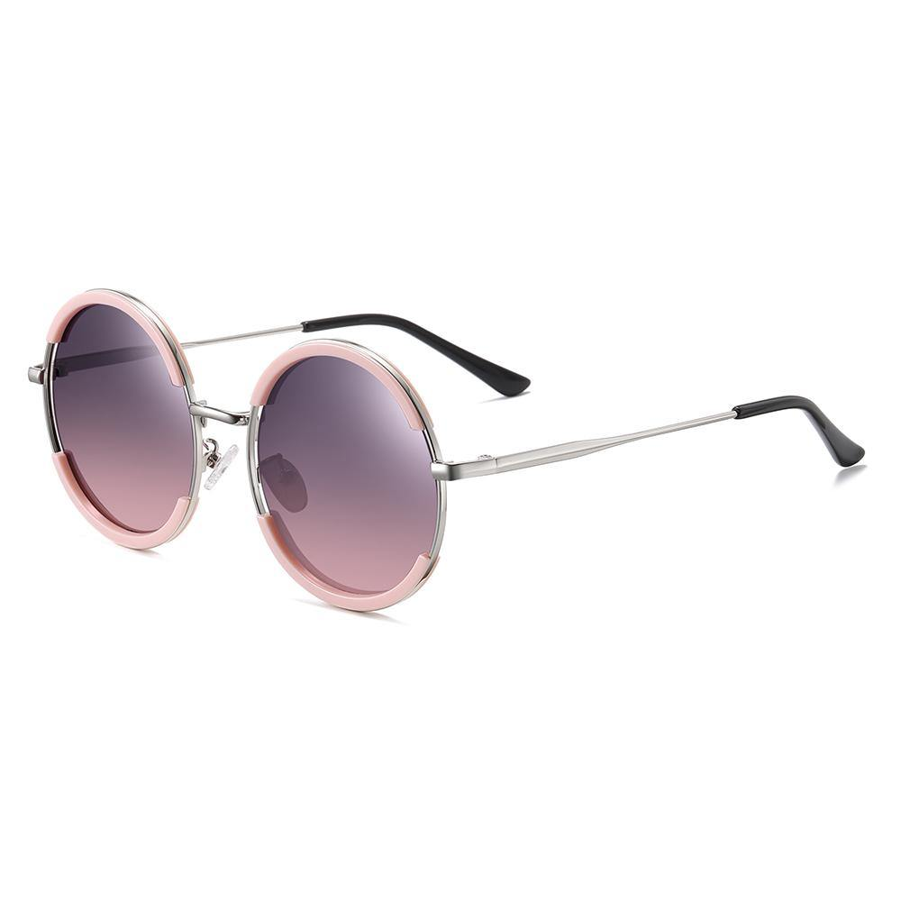 side view of round frame shape with purple gradient lenses color