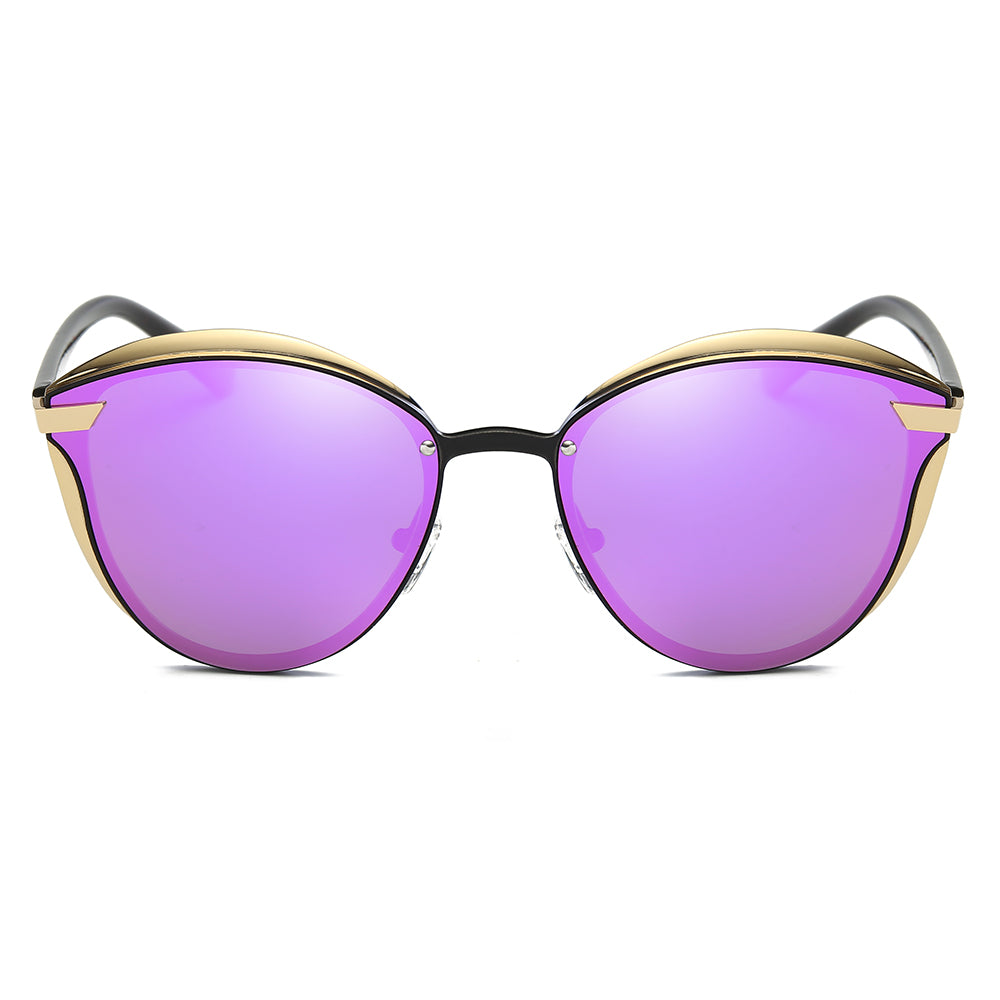 purple tinted sunglasses with polarizaed function, gold frame and black nose bridge, round phanto