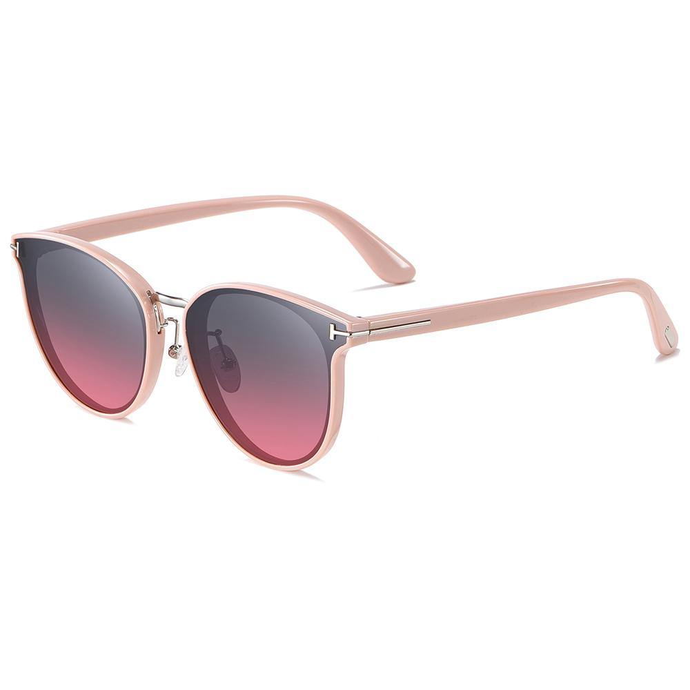 pink trimmed-round sunnies with purple gradient lens, pink temple arms