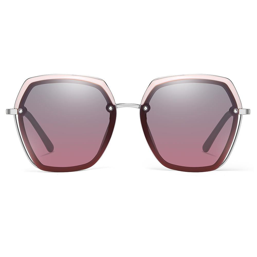 purple gradient sunglasses with pink trimes and silver bridges
