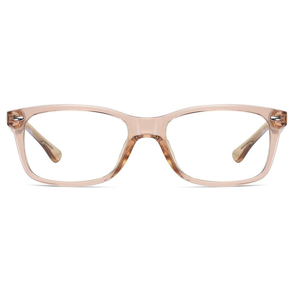 rectangle eyeglasses, champagn light brown frame colors, one piece nose pad