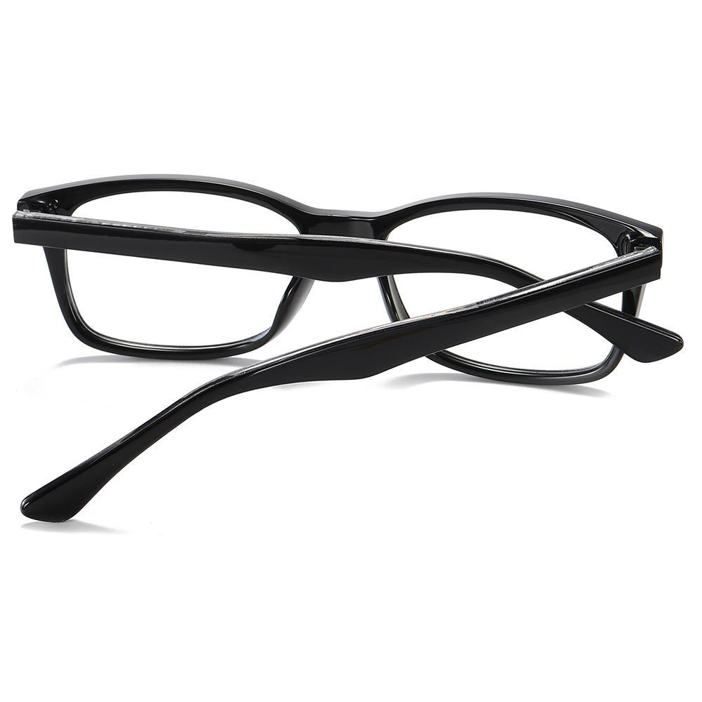 thick black frames of rectangle eyeglasses