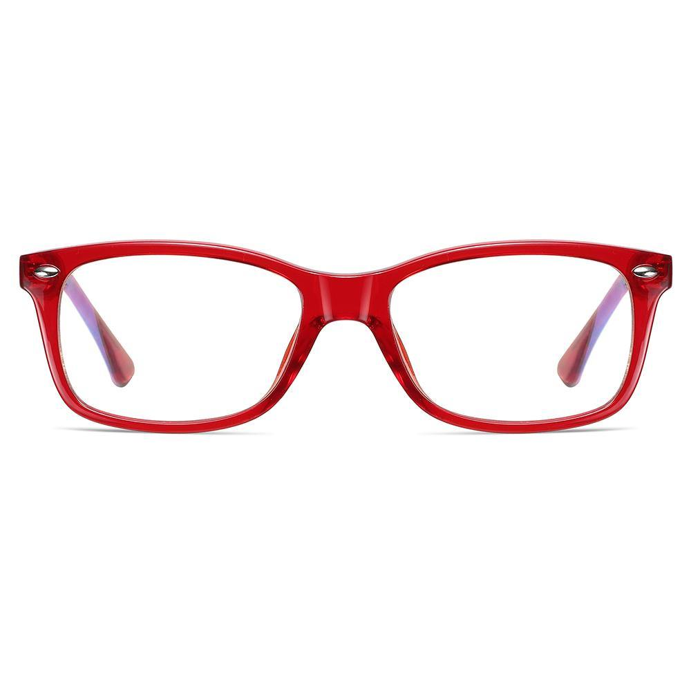 red eyeglasses in rectangle shape