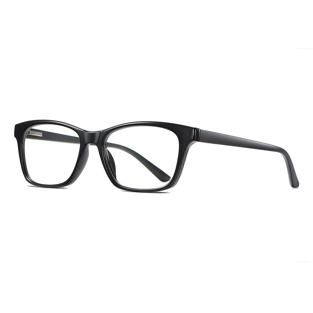 Black rectangular eyeglasses with photochromic lenses