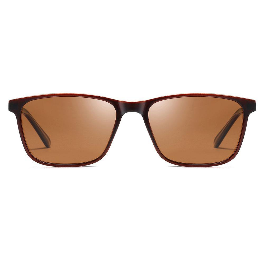 Brown tinted sunglasses with dark red frame, rectangular sunglasses for men women