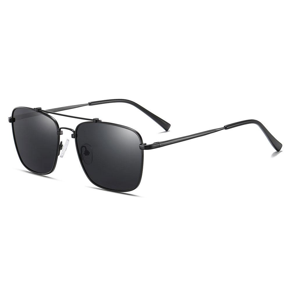 Rectangle sunglasses with double bridge, black trim lens and temple arms