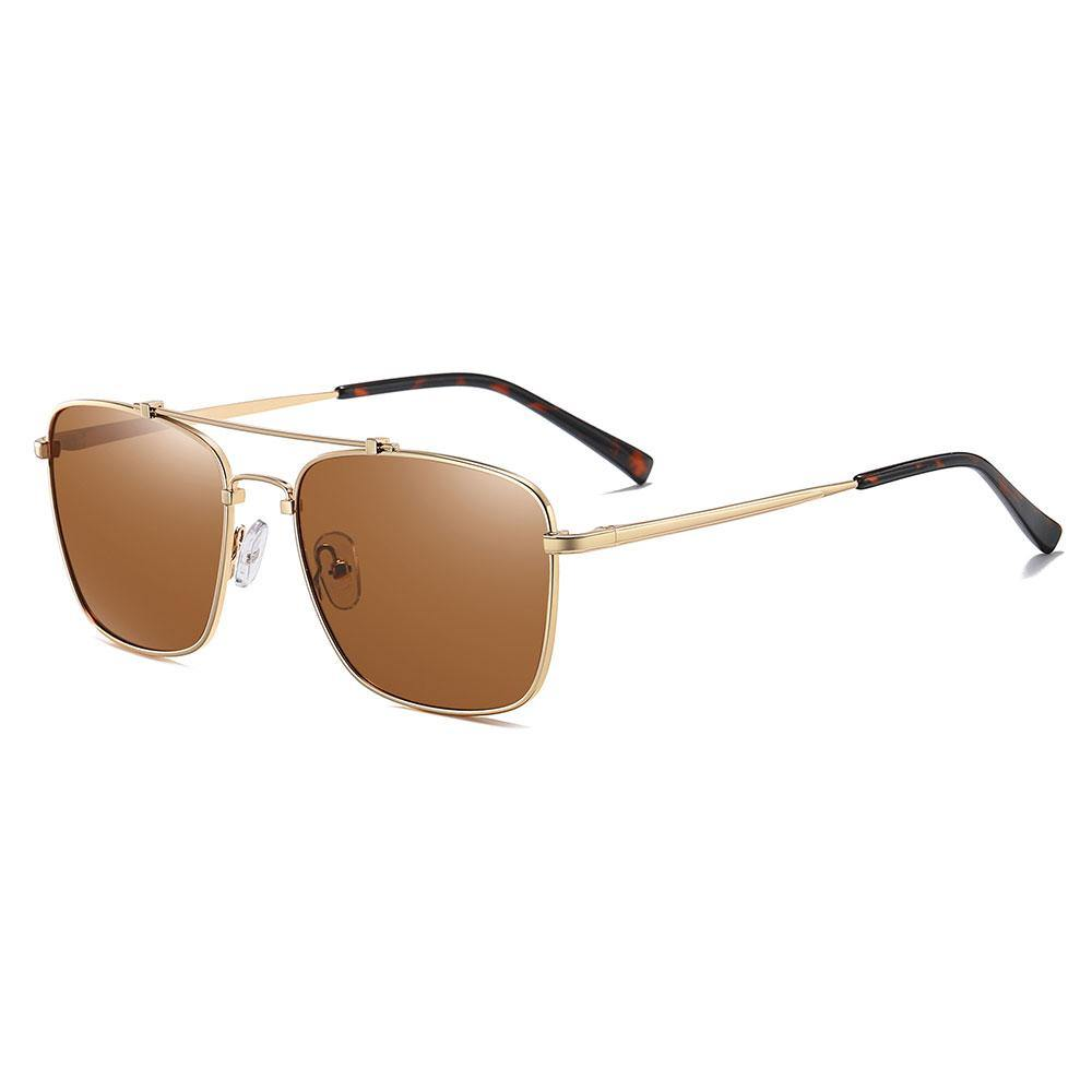 Rectangular sunglasses with gold temple arms and tortoise ending tips