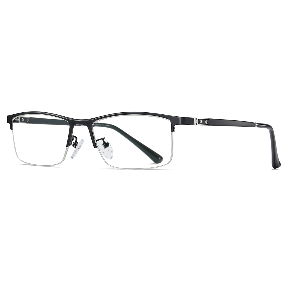 rectangle half rim eyeglasses, black frame colors, TR90 and metal made