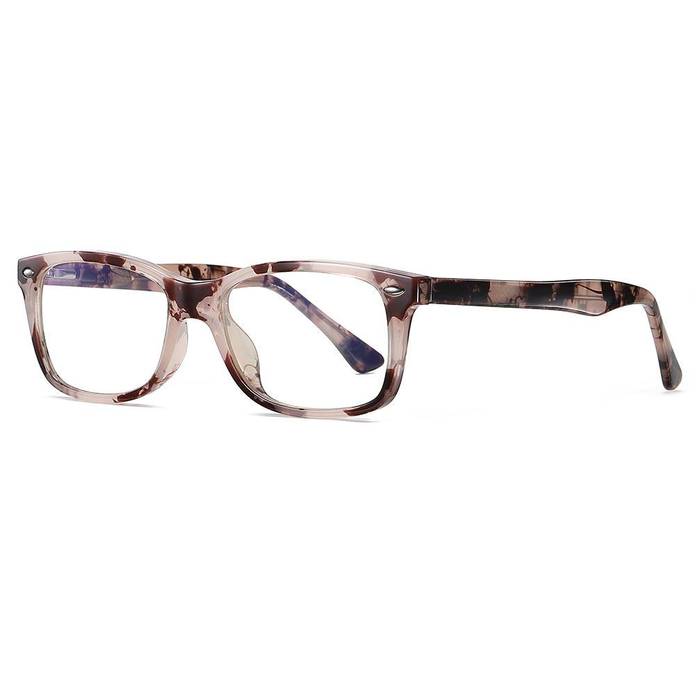 eyeglasses in ivory brown floral frames and rectangular shape