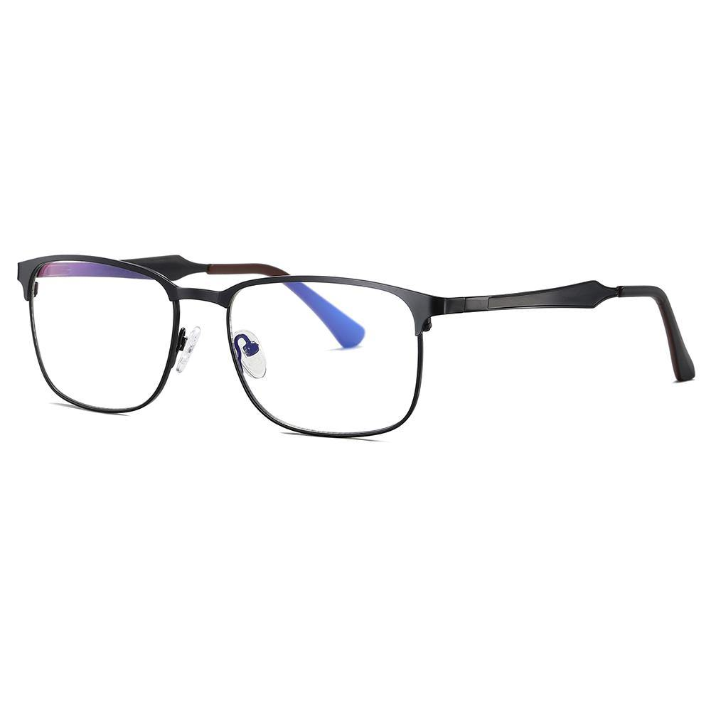 rectangular eyeglasses with black temples and frames