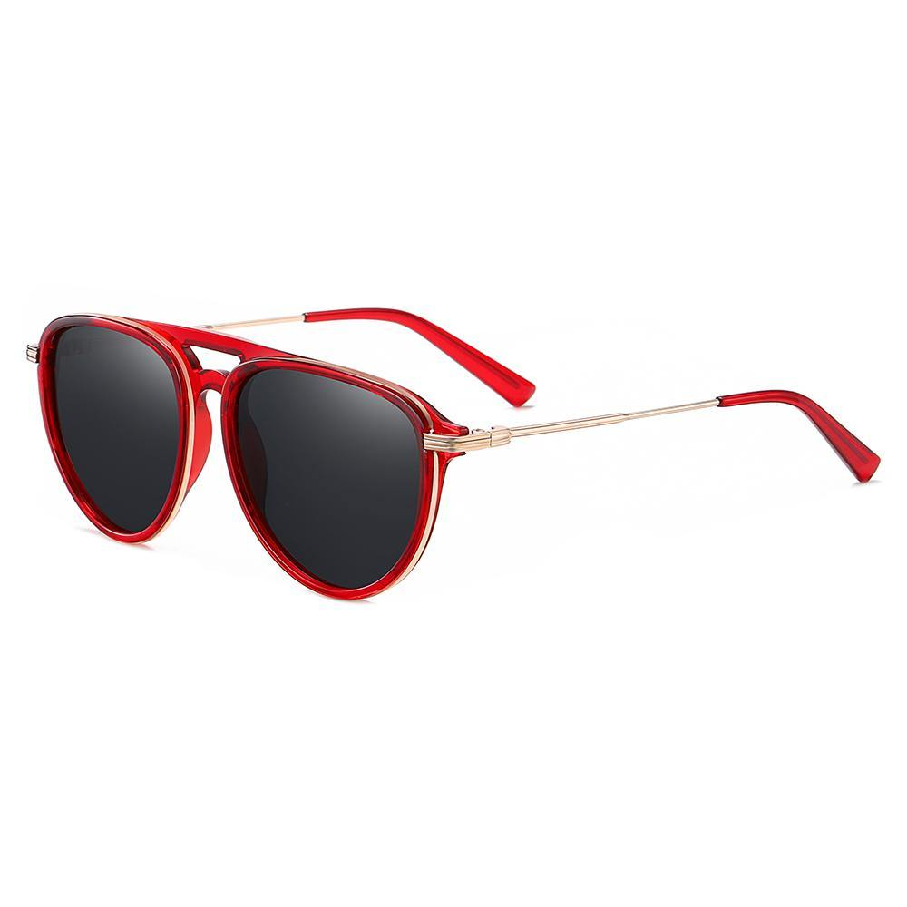 Red frame with gold inserted, rounded shape sunglasses, gold temple arms with red ending tips
