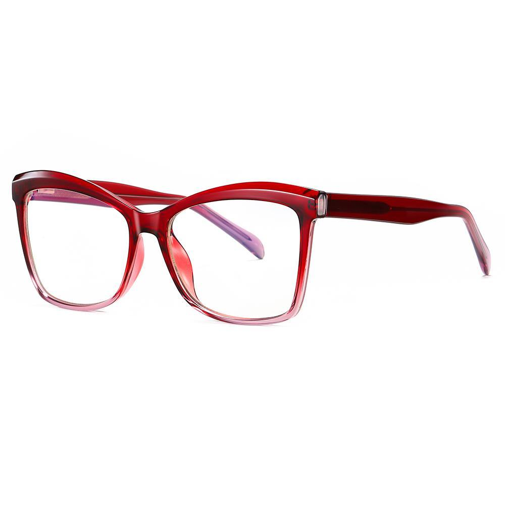 red square eyeglasses with red temple arms