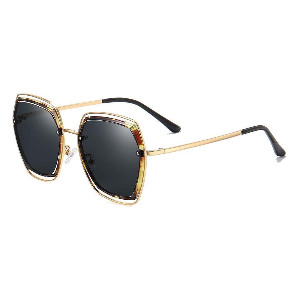 retro style sunglasses in geometric square shape and gold temple arms