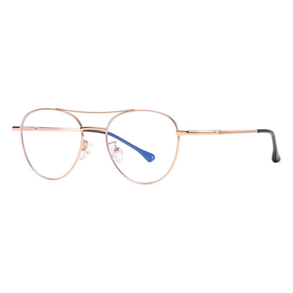 side view of glasses, rose gold trim color, double bridge vintage style