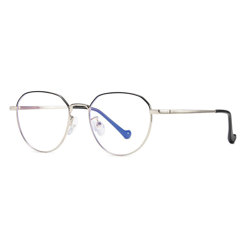 round bottom glasses shape, top black and bottom gold frame color, gold bridge