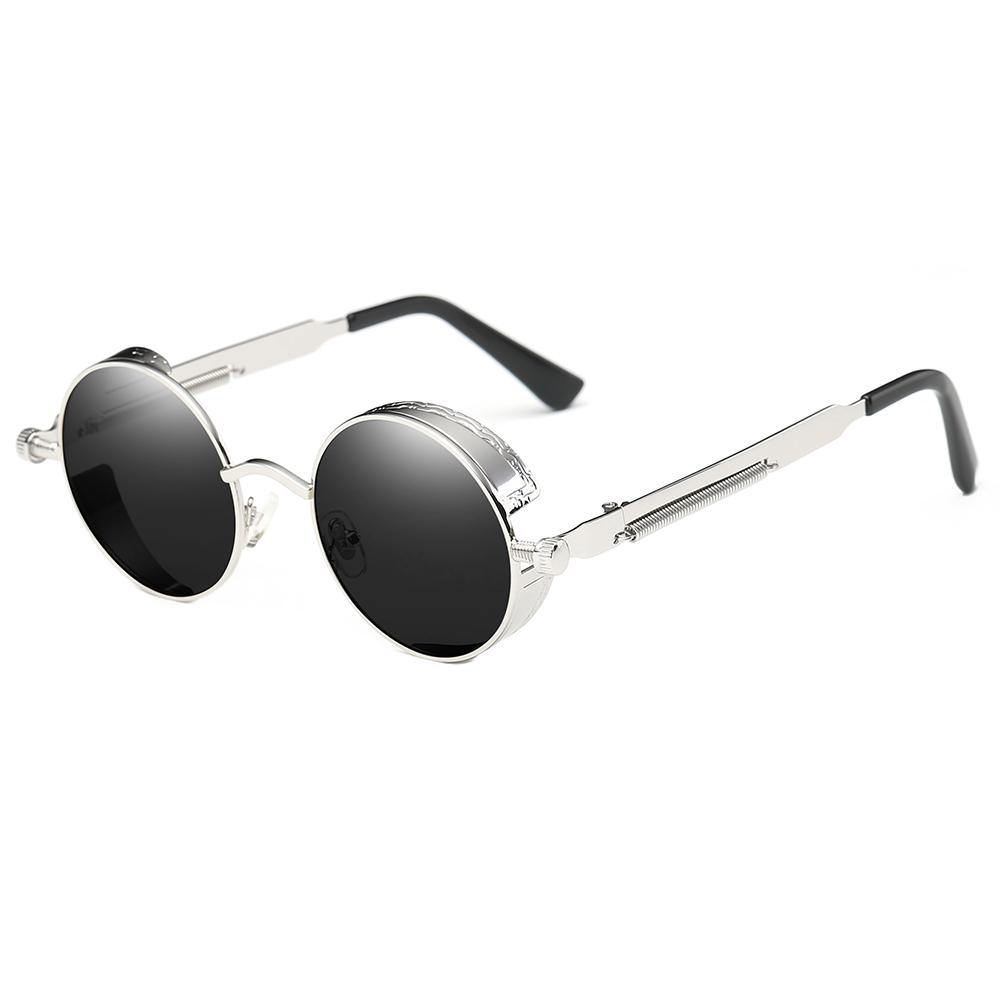 Lennon Round Sunglasses, Silver frames and temples, black lens