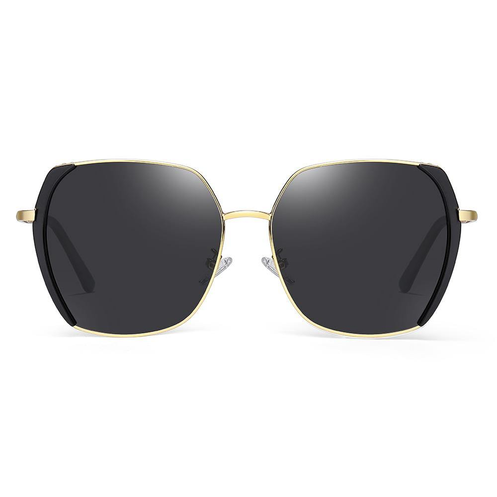 black square sunglasses with gold bridge and black side trim