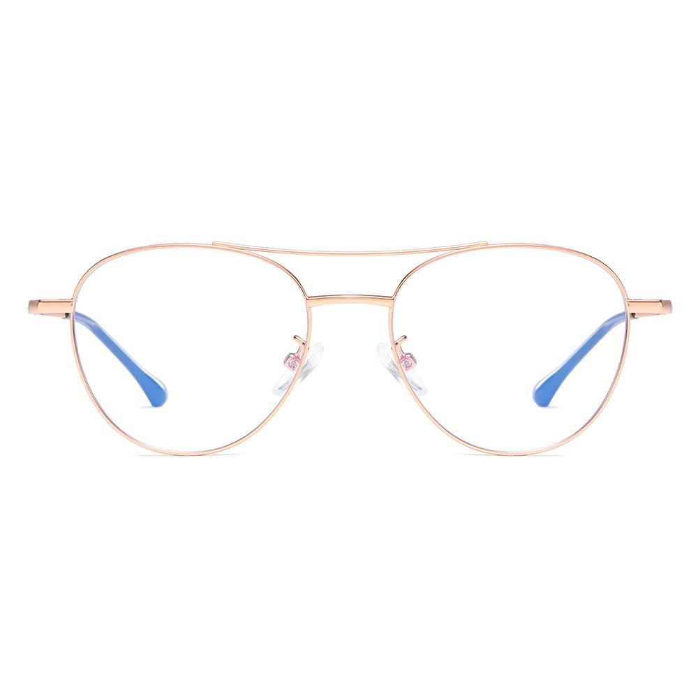 glasses with aviator style frame shape in rose gold color, double bridge