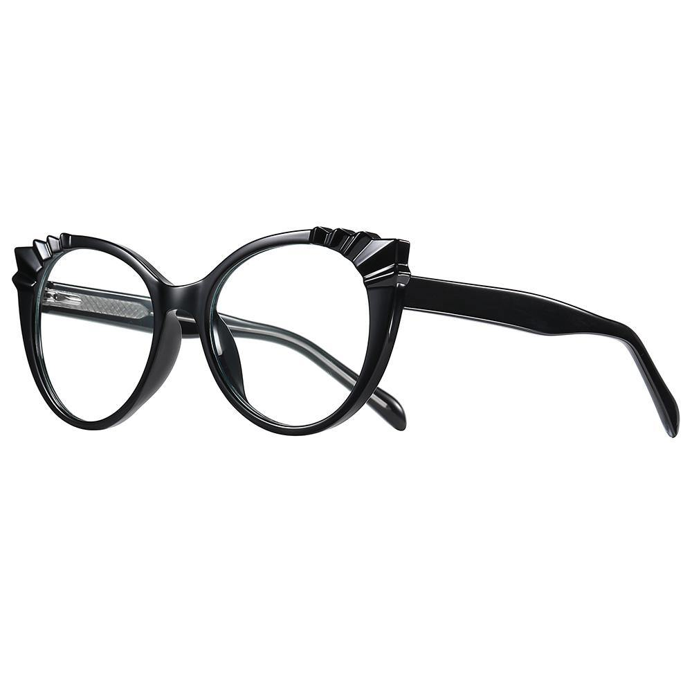 Cat eye glasses in black frames and temple arms