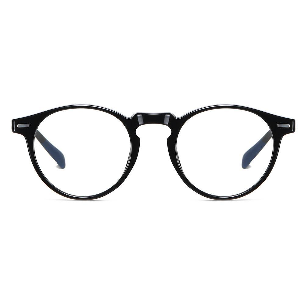 bright black round eyeglasses, keyhole nose bridge