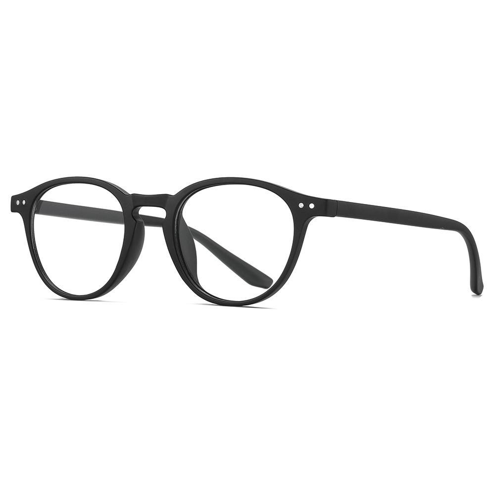 matt black round eyeglasses