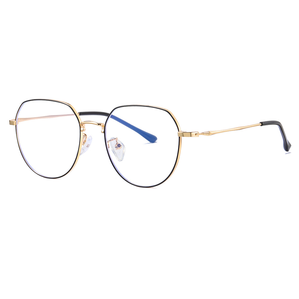 round eyeglasses with gold temple arms