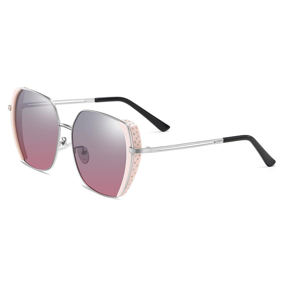 square lenses shades with pink finishing side trim and silver temple arms