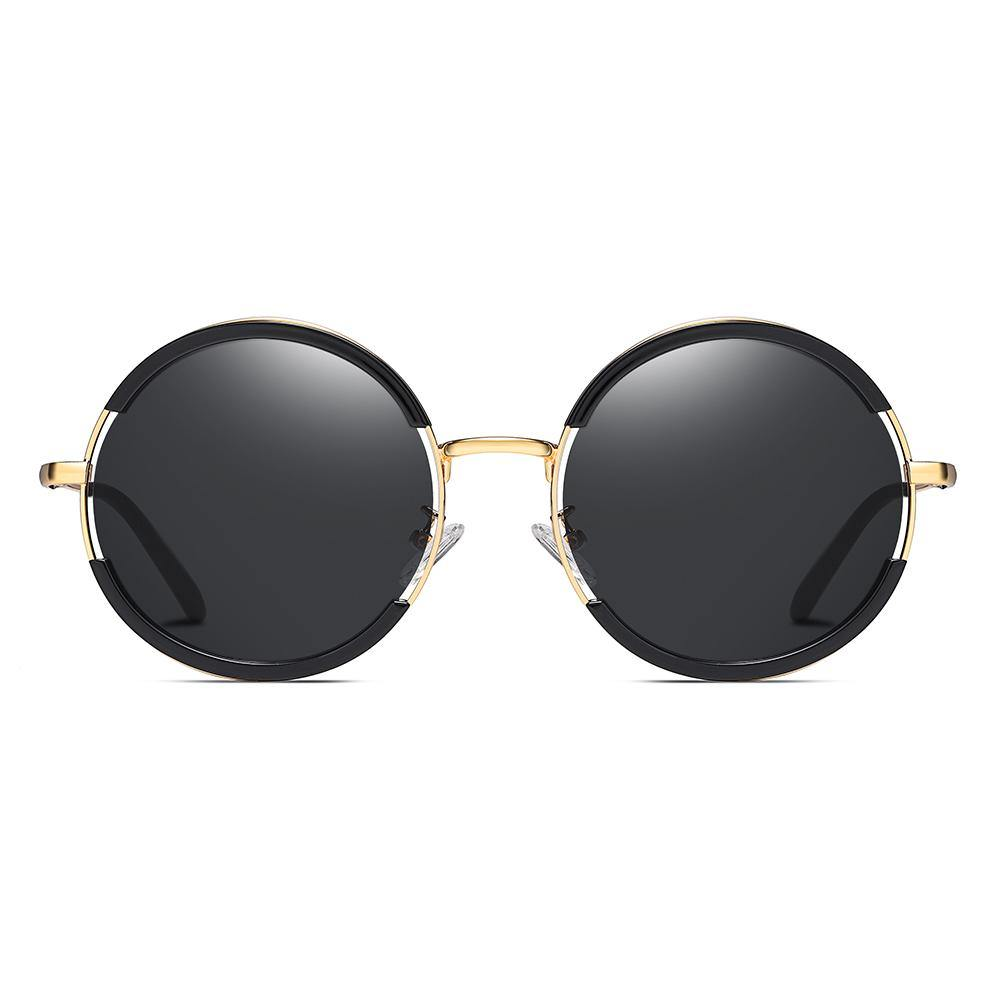 round polarized sunglasses, black frame and lenses, gold nose bridge