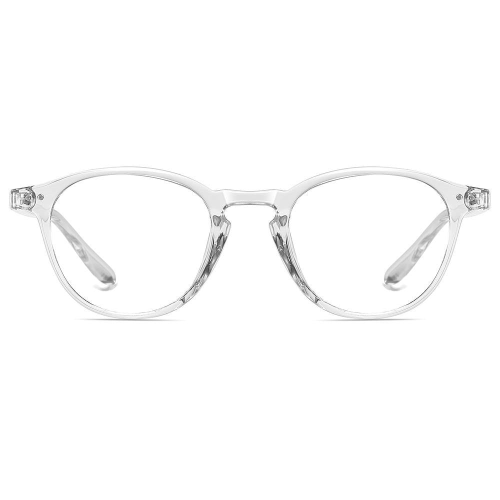 clear transparent frames, round shape, prescription glasses