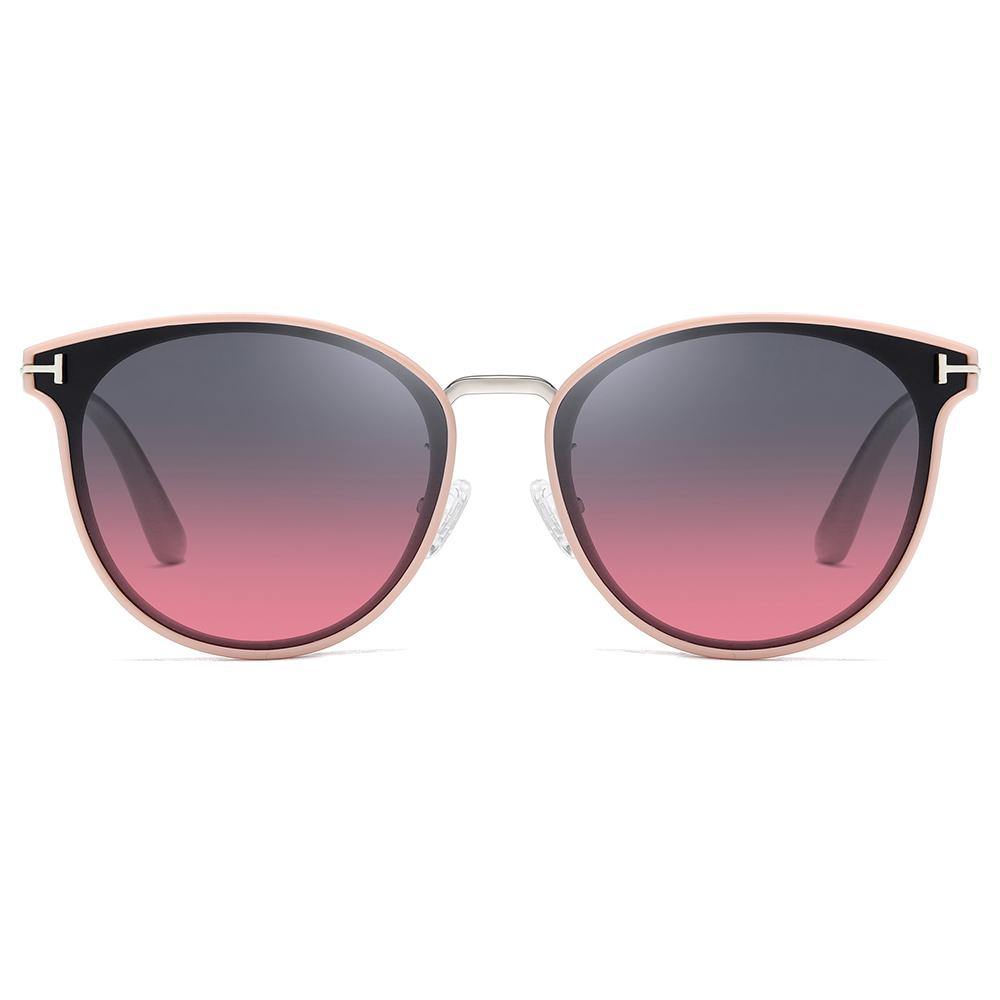 pink trimed frame, blue purple gradient sunglasses