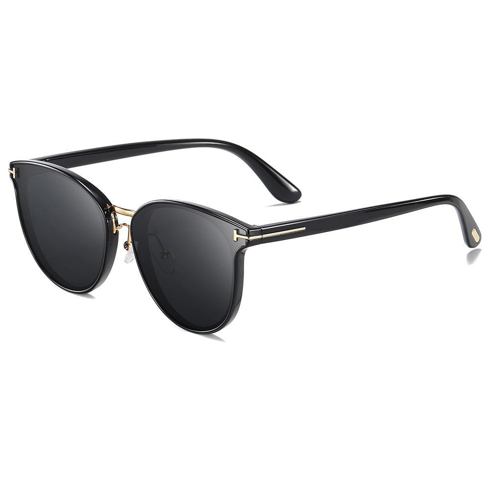 side view of round shades with black lens and temples