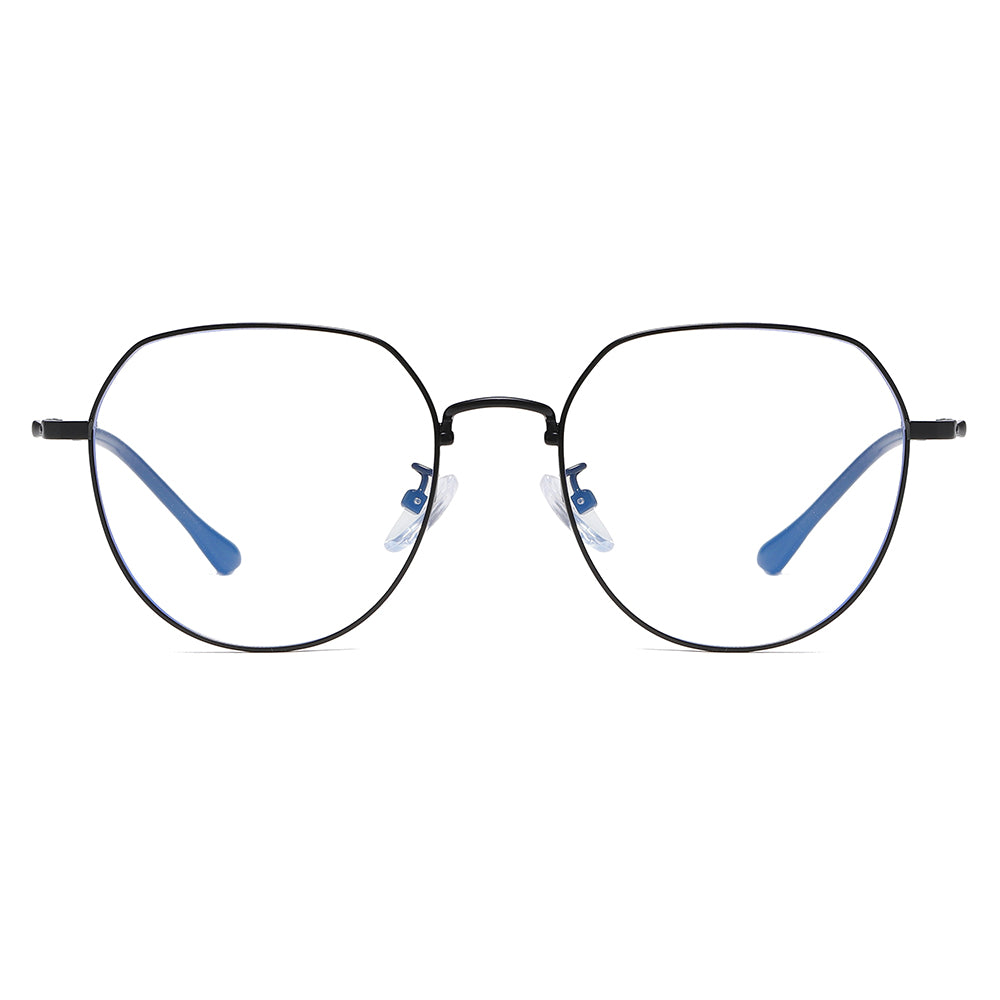 thin wire rim, sqaure round eyeglasses in black frame and nose bridge
