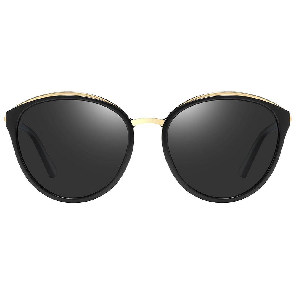 round sunglasses with slight angular edges, top gold rims and bridges