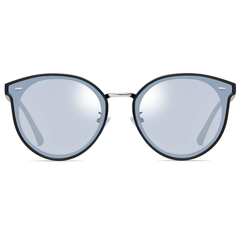 light blue tinted lens in phanto round shape and black rim