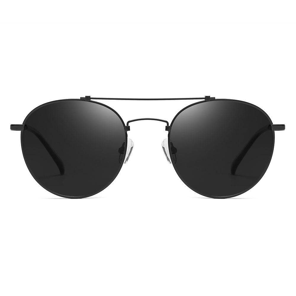 Round black sunglasses with double bridge design, thin wire frame