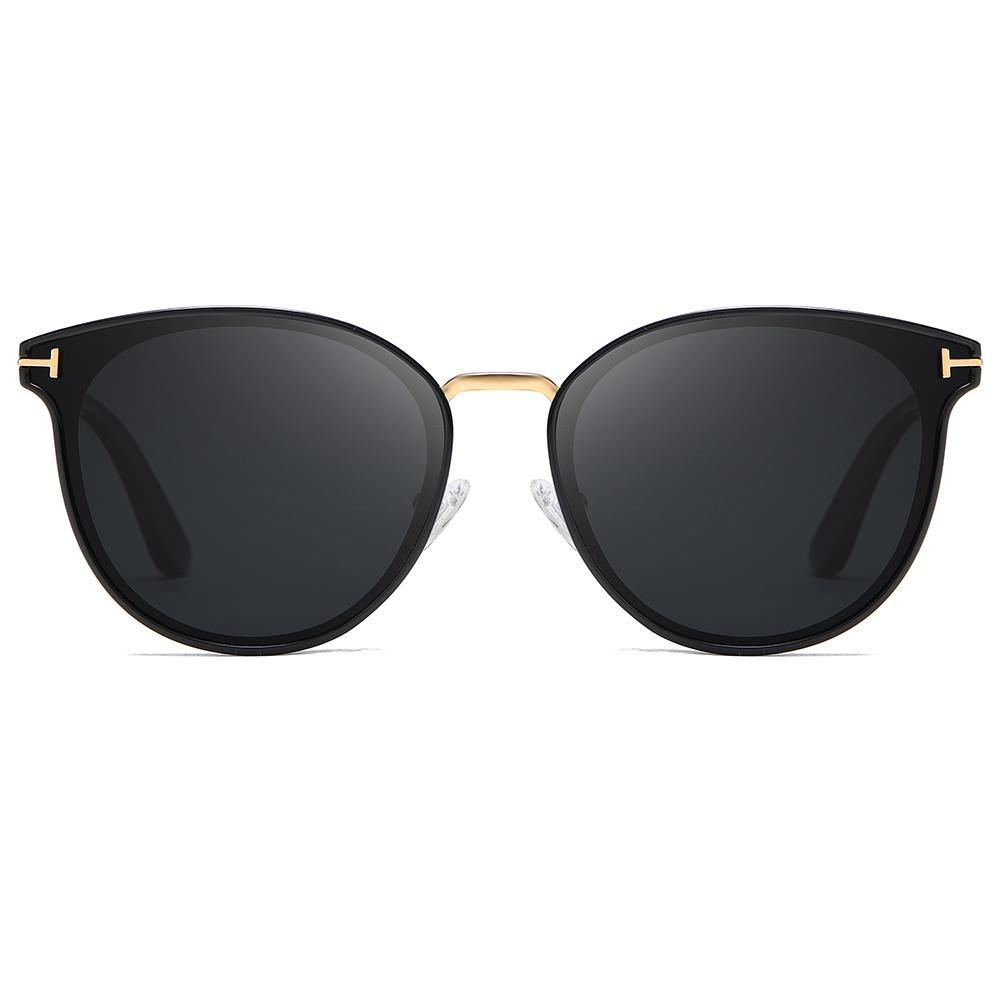 round phanto sunglasses with gold bridge