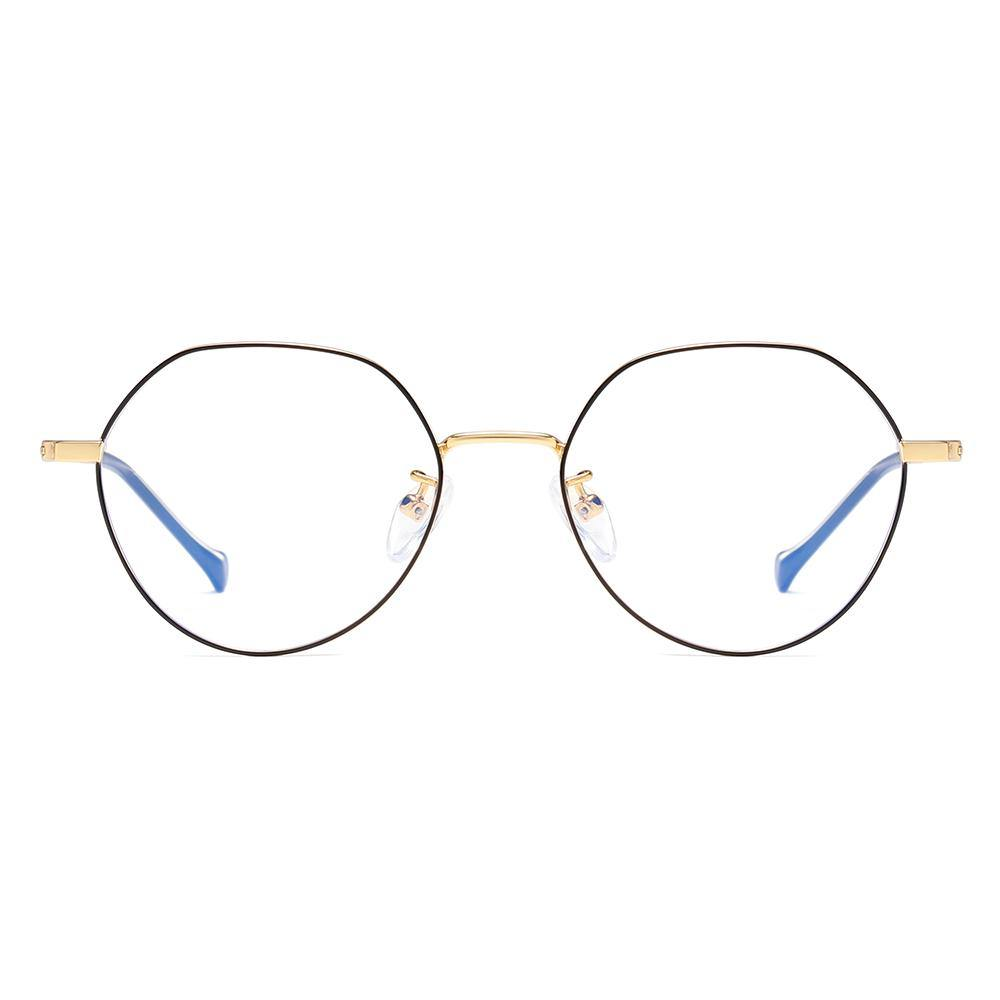 Thin wire round eyeglasse black rims and gold nose bridge