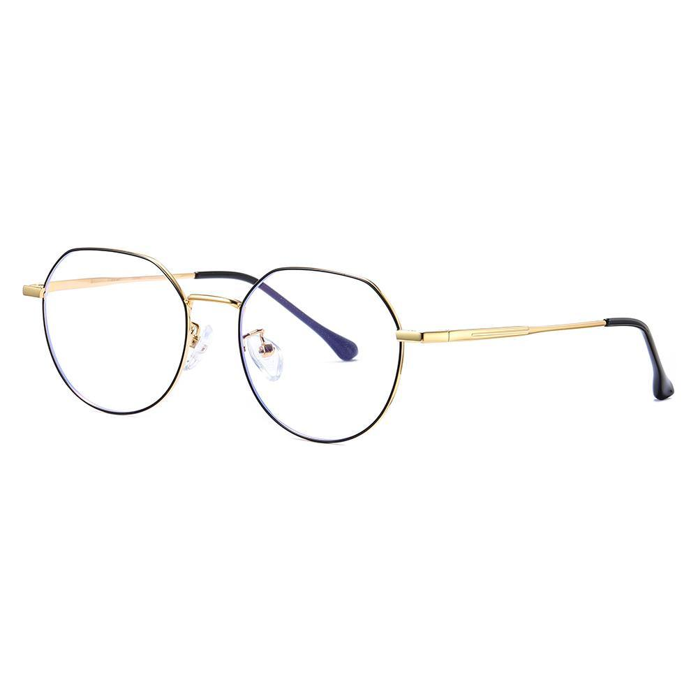 Round wire frame eyeglasses, black frame and gold temple arms