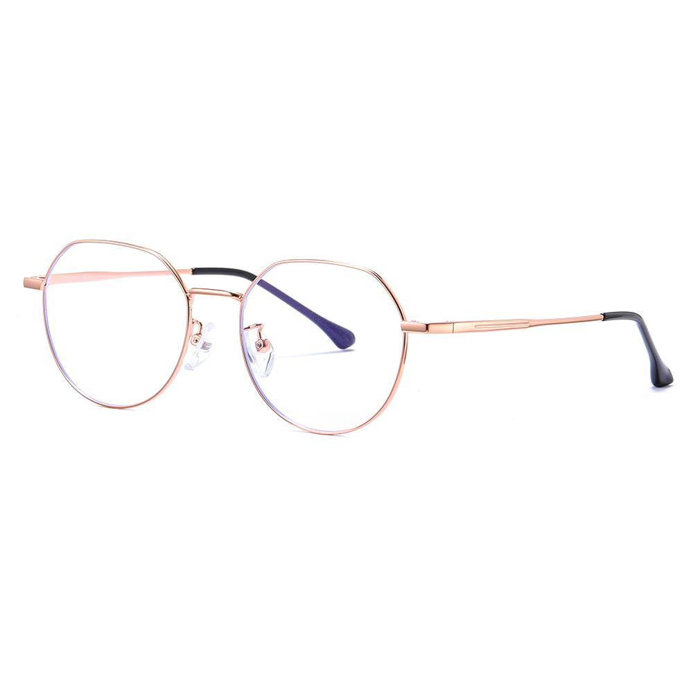 round wire frame eyeglasses in rose gold color