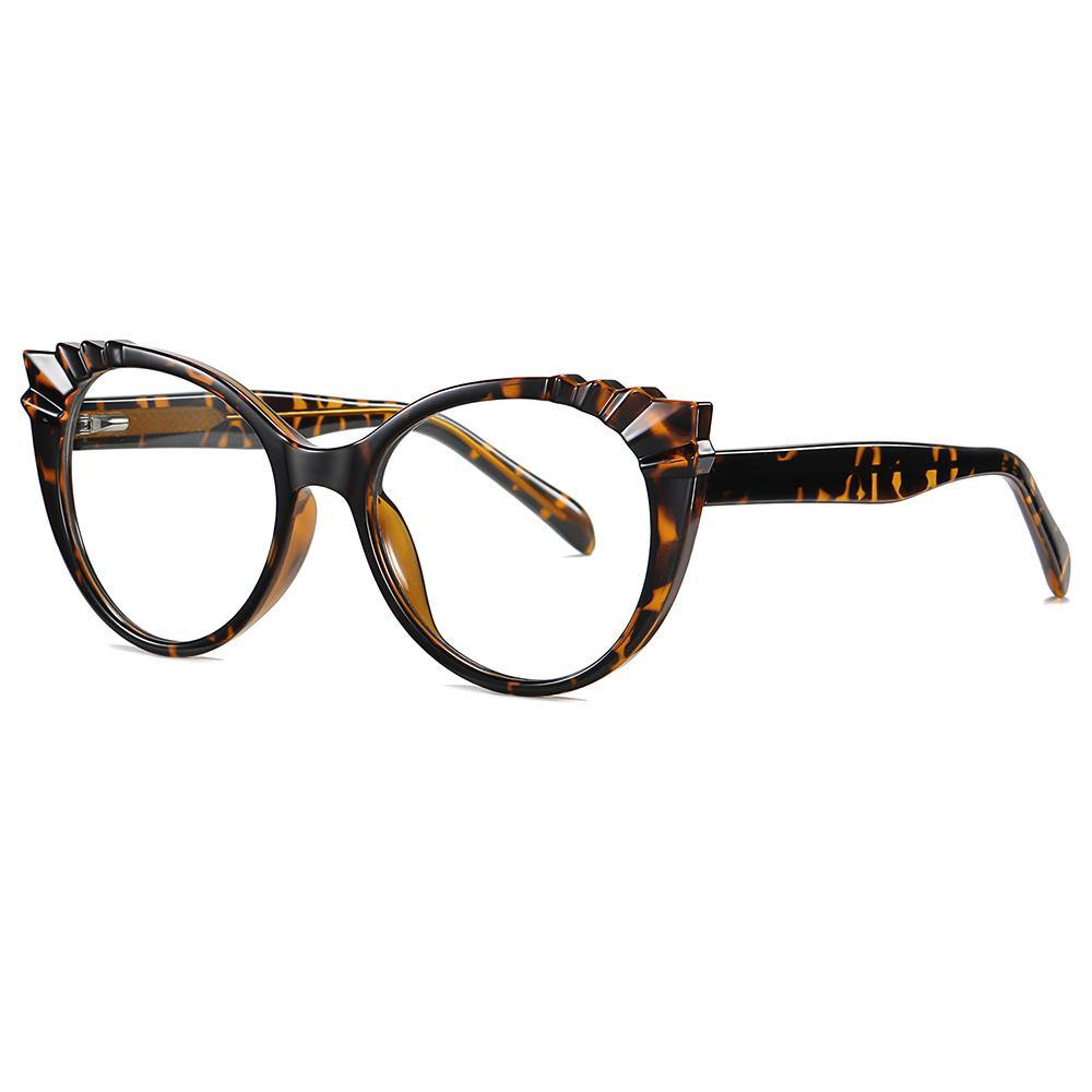 round cat eye glasses with thick temple arms, tortoise frames and arms