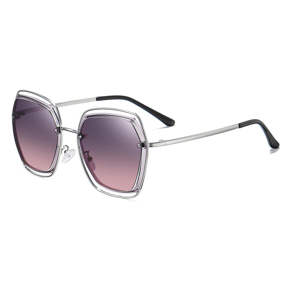shades for women in purple gradient tinted lenses color and silver temple arms